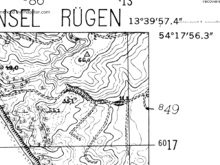 Reduced fragment of topographic map de--mb--025k--17_047-ams--(1952)--N054-18_E013-30--N054-12_E013-40