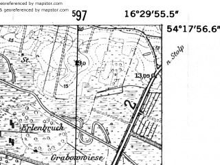 Reduced fragment of topographic map de--mb--025k--17_064-ams--(1952)--N054-18_E016-20--N054-12_E016-30