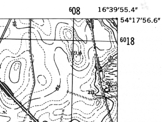 Reduced fragment of topographic map de--mb--025k--17_065-ams--(1952)--N054-18_E016-30--N054-12_E016-40