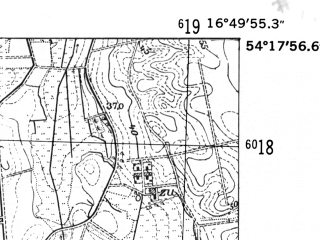 Reduced fragment of topographic map de--mb--025k--17_066-ams--(1952)--N054-18_E016-40--N054-12_E016-50