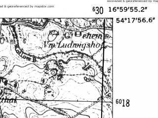 Reduced fragment of topographic map de--mb--025k--17_067-ams--(1952)--N054-18_E016-50--N054-12_E017-00; towns and cities Kepice