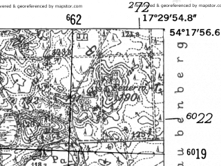 Reduced fragment of topographic map de--mb--025k--17_070-ams--(1952)--N054-18_E017-20--N054-12_E017-30