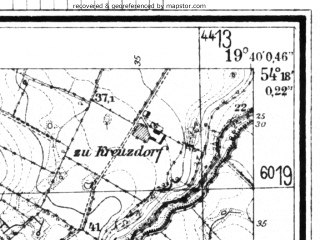 Reduced fragment of topographic map de--mb--025k--17_083--(1944)--N054-18_E019-30--N054-12_E019-40