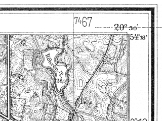 Reduced fragment of topographic map de--mb--025k--17_088--(1936)--N054-18_E020-20--N054-12_E020-30; towns and cities Gorowo Ilaweckie