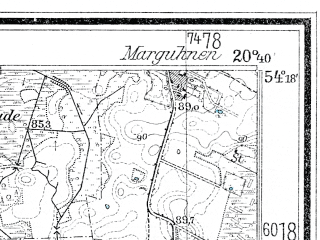 Reduced fragment of topographic map de--mb--025k--17_089--(1932)--N054-18_E020-30--N054-12_E020-40