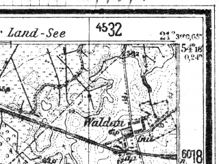 Reduced fragment of topographic map de--mb--025k--17_094--(1944)--N054-18_E021-20--N054-12_E021-30; towns and cities Barciany