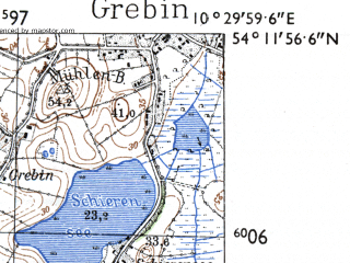 Reduced fragment of topographic map de--mb--025k--18_028-ams--(1955)--N054-12_E010-20--N054-06_E010-30 in area of Behler See, Schwentine