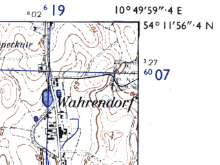 Reduced fragment of topographic map de--mb--025k--18_030-ams--(1955)--N054-12_E010-40--N054-06_E010-50; towns and cities Neustadt