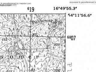 Reduced fragment of topographic map de--mb--025k--18_066-ams--(1952)--N054-12_E016-40--N054-06_E016-50