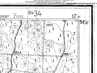 Reduced fragment of topographic map de--mb--025k--18_067--(1936)--N054-12_E016-50--N054-06_E017-00