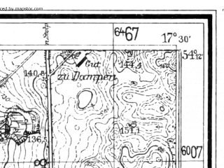 Reduced fragment of topographic map de--mb--025k--18_070--(1941)--N054-12_E017-20--N054-06_E017-30; towns and cities Bytow