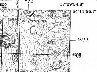 Reduced fragment of topographic map de--mb--025k--18_070-ams--(1952)--N054-12_E017-20--N054-06_E017-30; towns and cities Bytow