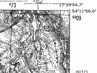 Reduced fragment of topographic map de--mb--025k--18_071-ams--(1952)--N054-12_E017-30--N054-06_E017-40