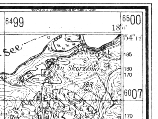Reduced fragment of topographic map de--mb--025k--18_073--(1936)--N054-12_E017-50--N054-06_E018-00; towns and cities Koscierzyna