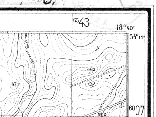 Reduced fragment of topographic map de--mb--025k--18_077--(1925)--N054-12_E018-30--N054-06_E018-40