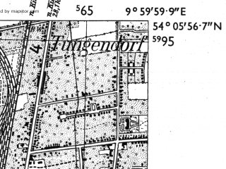 Reduced fragment of topographic map de--mb--025k--19_025-ams--(1955)--N054-06_E009-50--N054-00_E010-00; towns and cities Neumunster
