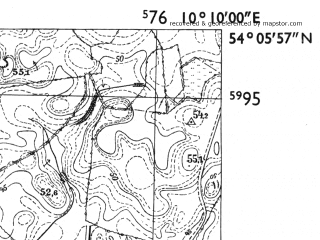 Reduced fragment of topographic map de--mb--025k--19_026-ams--(1955)--N054-06_E010-00--N054-00_E010-10