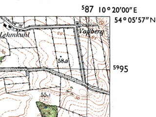 Reduced fragment of topographic map de--mb--025k--19_027-ams--(1955)--N054-06_E010-10--N054-00_E010-20