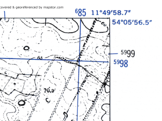 Reduced fragment of topographic map de--mb--025k--19_036-ams--(1952)--N054-06_E011-40--N054-00_E011-50
