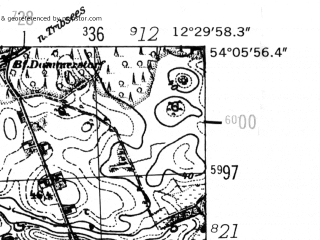 Reduced fragment of topographic map de--mb--025k--19_040-ams--(1952)--N054-06_E012-20--N054-00_E012-30; towns and cities Tessin