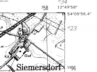 Reduced fragment of topographic map de--mb--025k--19_042-ams--(1952)--N054-06_E012-40--N054-00_E012-50; towns and cities Tribsees