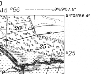 Reduced fragment of topographic map de--mb--025k--19_045-ams--(1952)--N054-06_E013-10--N054-00_E013-20
