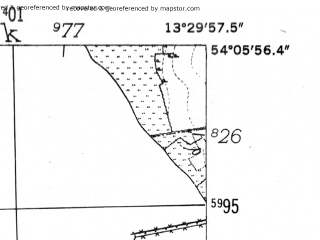 Reduced fragment of topographic map de--mb--025k--19_046-ams--(1952)--N054-06_E013-20--N054-00_E013-30; towns and cities Greifswald