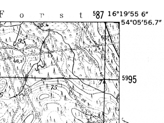 Reduced fragment of topographic map de--mb--025k--19_063-ams--(1952)--N054-06_E016-10--N054-00_E016-20