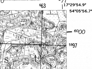 Reduced fragment of topographic map de--mb--025k--19_070-ams--(1952)--N054-06_E017-20--N054-00_E017-30