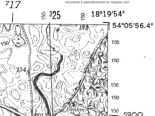 Reduced fragment of topographic map de--mb--025k--19_075-ams--(1952)--N054-06_E018-10--N054-00_E018-20