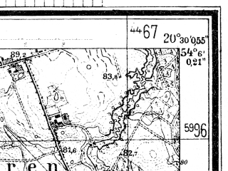 Reduced fragment of topographic map de--mb--025k--19_088--(1944)--N054-06_E020-20--N054-00_E020-30