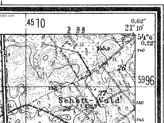 Reduced fragment of topographic map de--mb--025k--19_092--(1944)--N054-06_E021-00--N054-00_E021-10; towns and cities Reszel
