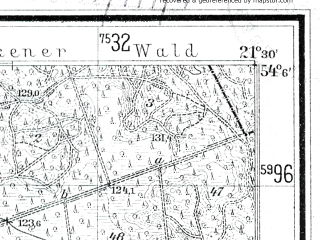 Reduced fragment of topographic map de--mb--025k--19_094--(1936)--N054-06_E021-20--N054-00_E021-30; towns and cities Ketrzyn