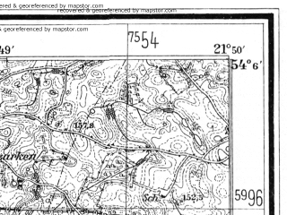 Reduced fragment of topographic map de--mb--025k--19_096--(1926)--N054-06_E021-40--N054-00_E021-50; towns and cities Gizycko