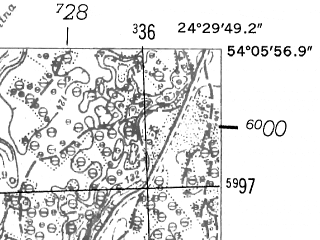 Reduced fragment of topographic map de--mb--025k--19_112-ams--(1952)--N054-06_E024-20--N054-00_E024-30; towns and cities Marcinkonys