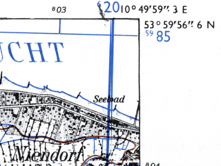 Reduced fragment of topographic map de--mb--025k--20_030-ams--(1955)--N054-00_E010-40--N053-54_E010-50 in area of Hemmelsdorfer See; towns and cities Bad Schwartau