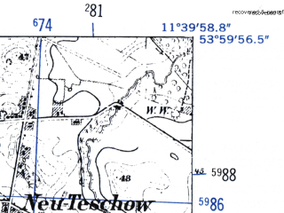 Reduced fragment of topographic map de--mb--025k--20_035-ams--(1952)--N054-00_E011-30--N053-54_E011-40
