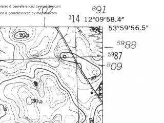 Reduced fragment of topographic map de--mb--025k--20_038-ams--(1952)--N054-00_E012-00--N053-54_E012-10