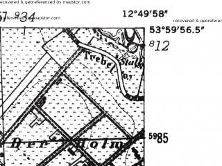 Reduced fragment of topographic map de--mb--025k--20_042-ams--(1952)--N054-00_E012-40--N053-54_E012-50; towns and cities Gnoien