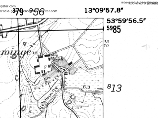 Reduced fragment of topographic map de--mb--025k--20_044-ams--(1952)--N054-00_E013-00--N053-54_E013-10; towns and cities Demmin