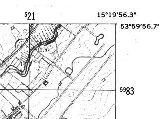 Reduced fragment of topographic map de--mb--025k--20_057-ams--(1952)--N054-00_E015-10--N053-54_E015-20; towns and cities Gryfice
