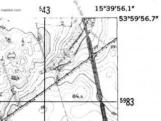 Reduced fragment of topographic map de--mb--025k--20_059-ams--(1952)--N054-00_E015-30--N053-54_E015-40