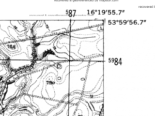 Reduced fragment of topographic map de--mb--025k--20_063-ams--(1952)--N054-00_E016-10--N053-54_E016-20