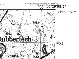 Reduced fragment of topographic map de--mb--025k--20_064-ams--(1952)--N054-00_E016-20--N053-54_E016-30