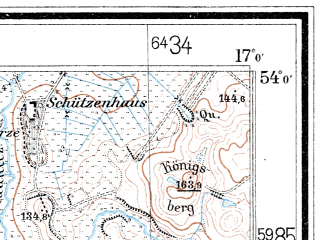 Reduced fragment of topographic map de--mb--025k--20_067--(1936)--N054-00_E016-50--N053-54_E017-00; towns and cities Miastko