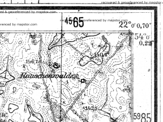 Reduced fragment of topographic map de--mb--025k--20_097--(1944)--N054-00_E021-50--N053-54_E022-00