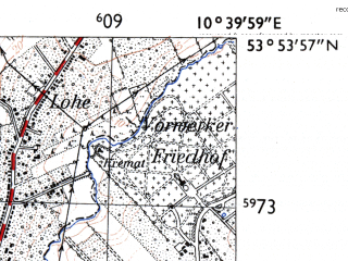 Reduced fragment of topographic map de--mb--025k--21_029-ams--(1955)--N053-54_E010-30--N053-48_E010-40; towns and cities Lubeck