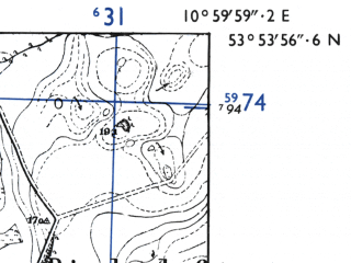 Reduced fragment of topographic map de--mb--025k--21_031-ams--(1955)--N053-54_E010-50--N053-48_E011-00