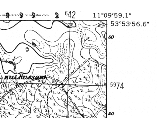 Reduced fragment of topographic map de--mb--025k--21_032-ams--(1952)--N053-54_E011-00--N053-48_E011-10