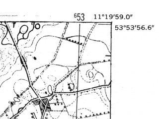 Reduced fragment of topographic map de--mb--025k--21_033-ams--(1952)--N053-54_E011-10--N053-48_E011-20